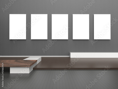 b00ec77f1f06 Exhibition Gallery empty modern room and five Picture frame on Black Wall    Set Zen Contemporary