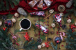 Chocolate cake with cranberry muffins with cherries, coffee. New year wallpapers
