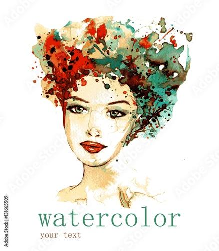 Foto op Canvas Schilderkunstige Inspiratie Vector illustration watercolor. Abstract illustration depicting a portrait of a woman.