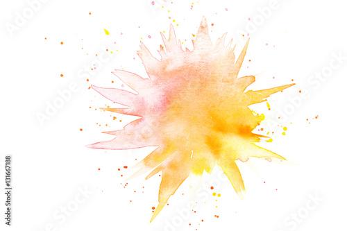Plakat Abstrakcjonistyczna kropla w akwareli farba w czerwieni i kolorze żółtym
