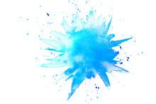 Abstrakter Klecks In Aquarell Aus Farbe In Blau Und Türkis