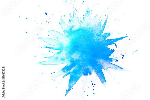 Plakat Streszczenie kropelka w akwarela farby w kolorze niebieskim i turkusowym
