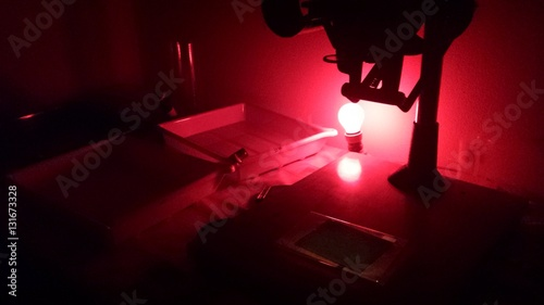 Red Light And equipment in darkroom Canvas Print