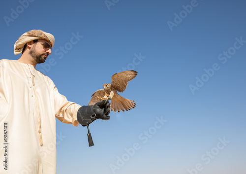 Young common kestrel with a man in traditional arab clothes