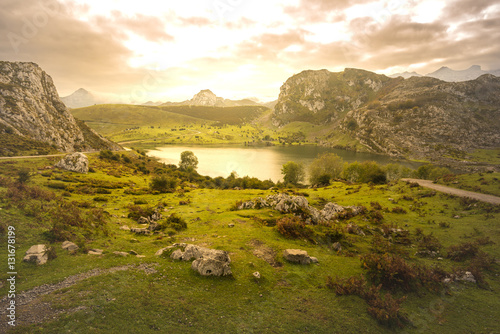 Enol lake (Lakes of Covadonga, Asturias - Spain).