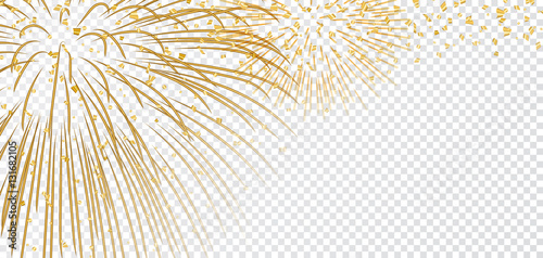 Canvas Print Gold bright firework on white transparent Christmas background
