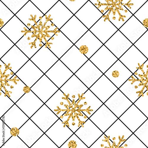 Christmas Gold Snowflake Seamless Pattern Golden Snowflakes