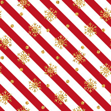 Christmas Gold Snowflake Seamless Pattern. Golden Snowflakes On Red And White Diagonal Lines Background. Winter Snow Design Wallpaper. Symbol Holiday, New Year Celebration Vector Illustration