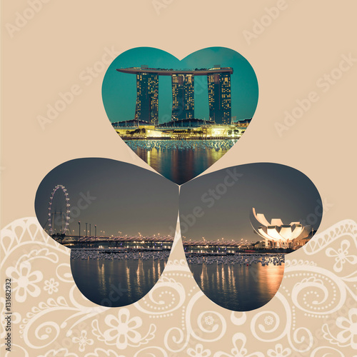 Photo  Collage of Singapore city at night