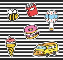 Cute Cartoon Patch On Stripe B...