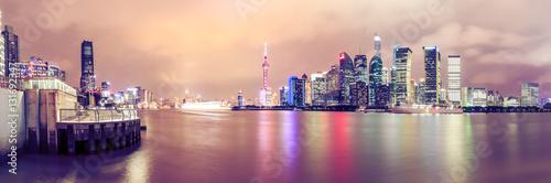 Foto auf Gartenposter Hochrote Shanghai skyline and modern cityscape panoramic view at night,China