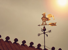 Rooster Weather Vane On Sunset