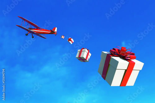 Aluminium Prints Dark grey Flying airplane with gift box over sky. 3D illustration
