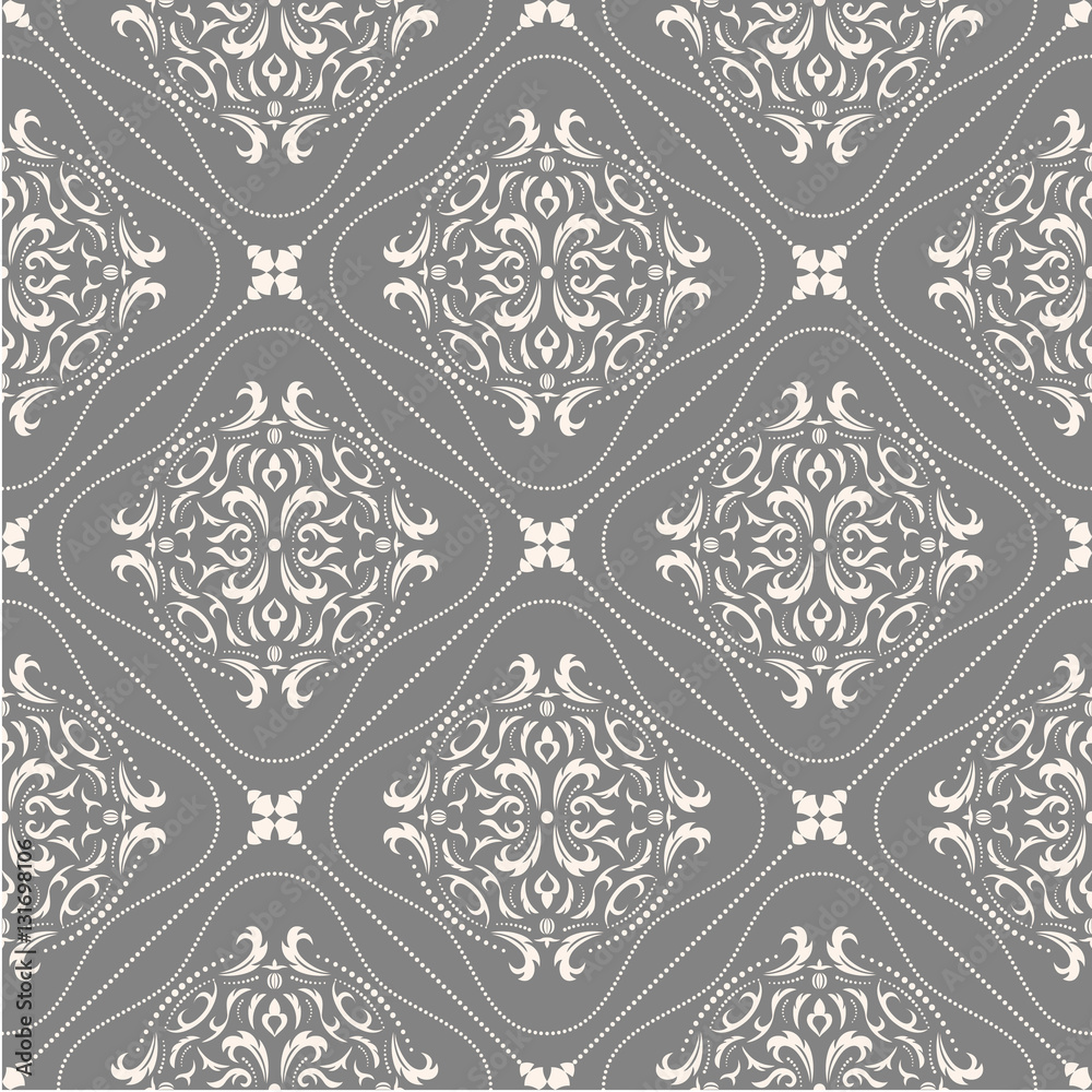 Damask seamless classic pattern. Vintage Baroque delicate background. Classic damask ornament for wallpapers, textile, fabric, wrapping, wedding invitation. Exquisite floral baroque template