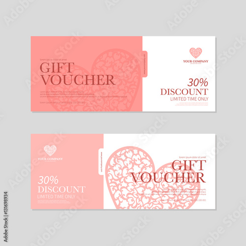 Valentine S Day Gift Coupon Voucher Template With Red Hearts Valentines