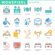 Flat thin line Icons set of Hotel Services. Pixel Perfect Icons.