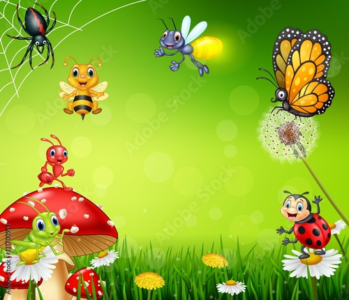 Cartoon small insect with nature background