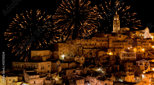Staande foto Artistiek mon. panoramic view of typical stones (Sassi di Matera) and church of Matera at night