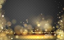 Golden Stars Bokeh Background