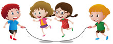 Four Kids Playing Jump Rope