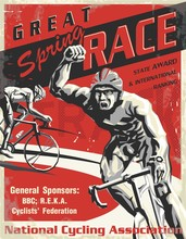 Biking Race Vintage Poster. Biking Illustration, Cyclist Vector Retro Poster. Layered.