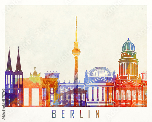 Photo  Berlin landmarks watercolor poster