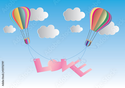 Concept Of Love And Valentine Day Origami Made Hot Air Balloon In A