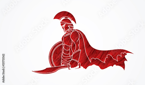 Foto  Spartan warrior with sword and shield designed using red grunge brush graphic vector