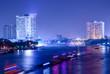 Bangkok city building at night.river in city.
