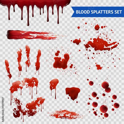 Photo Blood Spatters Realistic Samples Transparent Set