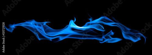 Fotobehang Vuur blue flame long spark isolated on black