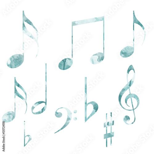 Fotografie, Obraz  Note musicali varie con texture acquarello