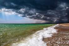 Amazing Nature. The Storm In The Sea. The Border Between Cloudy