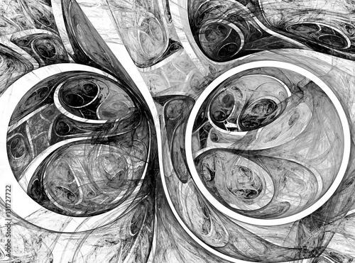 abstrakcjonistycznego-fractal-czarny-i-bialy-pilki-tlo