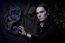 Dark Goth Vampire Stylish Man In The Black Studio