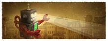 Robot Destruyendo Una Ciudad. ...
