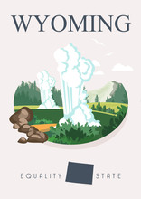 Wyoming Travel Vector Illustra...