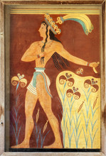 Ancient Minoan Frescoes Of The Palace Of Knossos