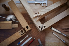 Overhead Shot Of Intricate Japanese Joinery And Hand Tools