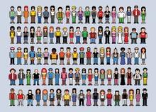 Set Of 100 Pixel Art People Avatars, Video Game Style Vector Illustration