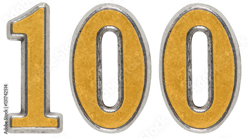 Fotografía  Metal numeral 100, one hundred, isolated on white background
