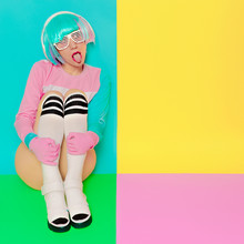 Minimal Fashion Pop Art. Vanilla Color. Playful Girl DJ. Doll St