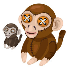 Handmade Soft Toy Monkey. Vector Animal