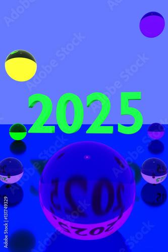 Poster  3D-Rendering von bunten Glaskugeln über spiegelnder Oberfläche und der Jahreszah