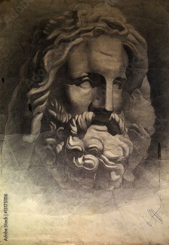 Photo  Zeus. Father of all Gods.Ancient roman marble head of Zeus