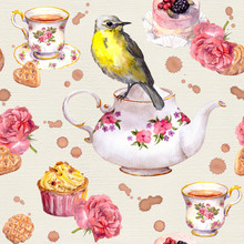 Teatime: Tea Pot, Cup, Cakes, Rose Flowers, Bird. Seamless Pattern. Watercolor
