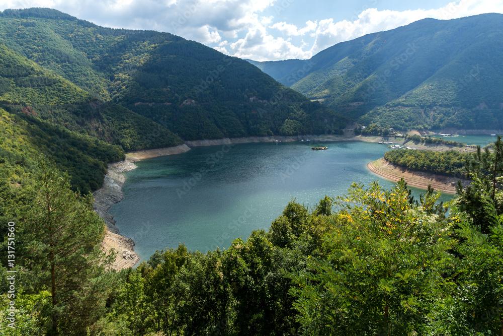 Panorama of Meander of Vacha (Antonivanovtsy) Reservoir, Rhodopes Mountain, Bulgaria