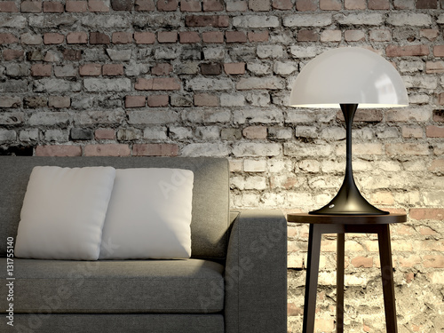 Wohnzimmer Sofa Lampe Steinwand Buy This Stock Illustration And
