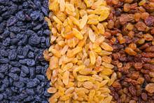 Assortment Of Raisins Background, Texture
