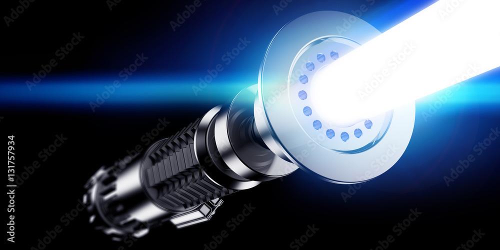 Photo  3D rendering of a lightsaber over dark background